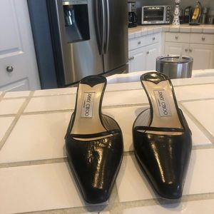 Jimmy Choo black leather slides